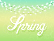 Spring background in gentle green and blue colors. Spring background in gentle green and blue colors, the garland with glowing light bulbs. Text. Vector Stock Photo
