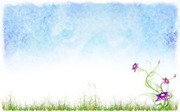 Spring background with a grass and flowers vector illustration