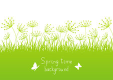 Spring background with grass silhouettes Royalty Free Stock Photography
