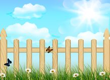 Spring background, grass and wooden fence Stock Photo