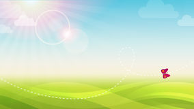 Spring background. Spring green abstract background width butterfly Royalty Free Illustration