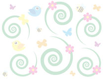 Spring Background. With green swirls and bees and birds Royalty Free Stock Images