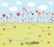 Spring background with hearts Royalty Free Stock Photo