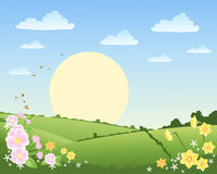 Spring background. An illustration of a rural landscape in spring time with daffodils bees and patchwork fields under a blue sky with a big sun and fluffy clouds Stock Photography