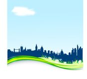 Spring background with London skyline. vector illustration