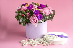 Spring background. Mother`s day card March 8. Spring bouquet of flowers with Mimosa. International women day stock photo