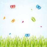 Spring background with multicolored butterflies un Royalty Free Stock Photos