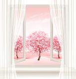 Spring background with an open window and blossoming pink sakura Royalty Free Stock Photo