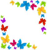 Spring background with painted butterflies border Royalty Free Stock Photo