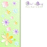 Spring background with pattern of stylized paper flowers Stock Photo