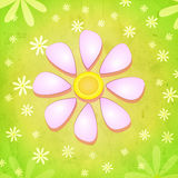 Spring pink flower over green background with white flowers Stock Photography