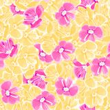 Spring background. pink and yellow flowers. vector seamless pattern. floral backdrop. textile paint. repetitive background. fabric stock illustration