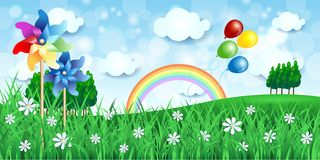 Spring background with pinwheels and balloons Stock Photos