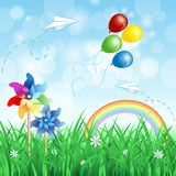 Spring background with pinwheels Royalty Free Stock Image