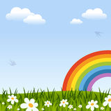 Spring Background with Rainbow. Green grass, flowers, clouds and swallows. Useful also as Easter greeting card. Eps file available