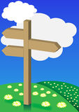 Spring Background - Signpost on Meadow stock illustration
