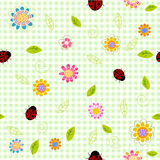 Spring background with small flowers and ladybugs. Cartoon Royalty Free Stock Photos