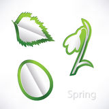 Spring background with snowdrop, birch leaf and egg origami Royalty Free Stock Photos