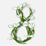 The figure 8 is made of snowdrops vector illustration