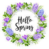 Spring on background with spring flowers. Vector. Spring on background with spring flowers Royalty Free Stock Images