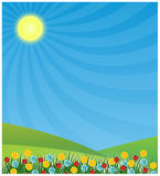 Spring background with sun shining Stock Image