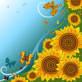 Spring background with sunflowers Royalty Free Stock Images