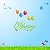 Spring background with Text and Balloons Stock Photo