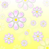 Spring violet flowers over yellow background Stock Image