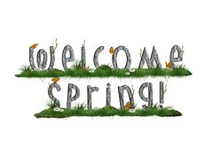 Spring background with welcome spring sign in the grass Stock Images