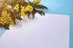 Spring background - white paper sheet with copy space near mimosa flowers. On the turquoise linen tablecloth Stock Photography