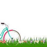 Spring background with a woman bike on grass with flowers Stock Illustration