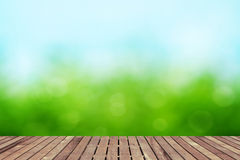 Spring background with wooden floor Stock Images