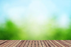 Spring background with wooden floor Stock Photography