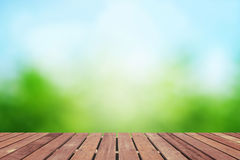 Spring background with wooden floor Royalty Free Stock Image
