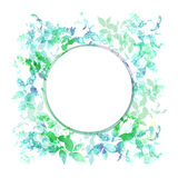 Spring background, wreath with green mint leaves, watercolor. Round banner for text. Vector Royalty Free Stock Images