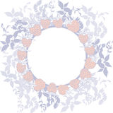 Spring background, wreath with leaves. Round banner for text. ripe raspberry on white background. Sketch, hand-drawn. Vector Royalty Free Stock Photo