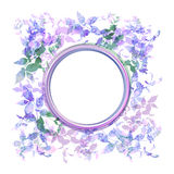 Spring background, wreath with lilac purple leaves, watercolor. Round banner for text. Vector Stock Images