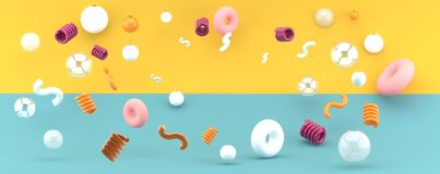 Spring balloons and donuts float on a green and yellow backdrop. 3d rendering royalty free illustration