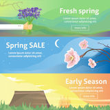 Spring baners. Fresh spring background with grass, dandelions and daisies Stock Image