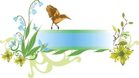 Spring banner. With a bird and spring lilies and flowers Stock Photos
