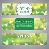 Spring banner. Bokeh vector design. Beautiful Blurred Lights with Butterflies. Spring banner. Beautiful Blurred Lights with Butterflies. Bokeh vector stock illustration