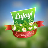 Spring Banner. On blur landscape. Design template. Elements are layered separately in vector file Stock Photo