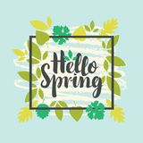 Spring banner with green leaves Stock Images