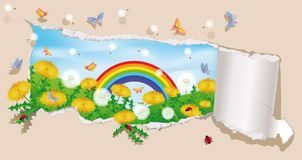 Spring banner with ladybirds. vector Stock Photo