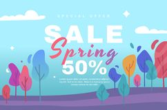 Vector illustration with paper flowers for shopping, advertising, magazines, websites. Spring sale. royalty free stock photos