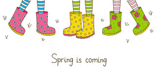 Spring banner with rubber boots. Spring banner with color rubber boots Stock Images