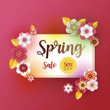 Spring banner sale. With leaf and colorful flowers design. Paper cut art style on pink background.For a festive season Vector illu vector illustration