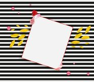 Spring banner. Yellow petals, red flower and sheet of paper on the black white striped background. Spring fashion banner. Yellow petals, red flower and sheet of Stock Image