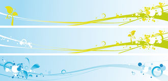 Spring banners. Illustration of spring fresh banners with colored backgrounds and colored abstract shapes Stock Photo