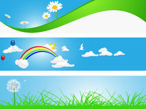 Spring Banners. With flowers and clouds Royalty Free Stock Image